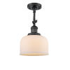 This item: Large Bell Matte Black LED Semi Flush Mount with Matte White Cased Glass
