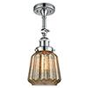This item: Chatham Polished Chrome 16-Inch One-Light Semi Flush Mount with Mercury Fluted Novelty Glass