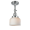 This item: Large Bell Polished Chrome 14-Inch One-Light Semi Flush Mount with Matte White Cased Dome Glass