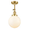 This item: Franklin Restoration Satin Gold 16-Inch One-Light Semi-Flush Mount with Large Matte White Cased Beacon Shade