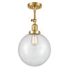 This item: Franklin Restoration Satin Gold 16-Inch One-Light Semi-Flush Mount with Clear Beacon Shade