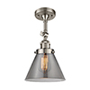 This item: Large Cone Brushed Satin Nickel 14-Inch One-Light Semi Flush Mount with Smoked Cone Glass