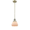 This item: Fulton Antique Brass 3.5W LED Hang Straight Swivel Mini Pendant with Matte White Cased Glass