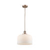 This item: X-Large Bell Antique Copper 3.5W LED Hang Straight Swivel Pendant with Matte White Cased Glass