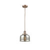 This item: Large Bell Antique Copper LED Hang Straight Swivel Mini Pendant with Silver Plated Mercury Glass