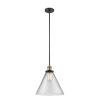 This item: X-Large Cone Black Antique Brass One-Light Pendant