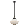 This item: Oxford School House Black Antique Brass 11-Inch LED Pendant with White Bell Glass