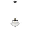 This item: Franklin Restoration Black Antique Brass 12-Inch One-Light Pendant with Seedy Large Oxford Shade