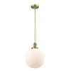 This item: Franklin Restoration Brushed Brass 10-Inch One-Light Pendant with Matte White Glass Shade