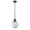 This item: Franklin Restoration Matte Black Eight-Inch One-Light Mini Pendant with Clear Glass Shade
