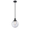 This item: Franklin Restoration Matte Black Eight-Inch One-Light Mini Pendant with Seedy Glass Shade