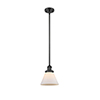 This item: Large Cone Black Eight-Inch One-Light Mini Pendant with Matte White Cased Cone Glass