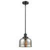 This item: Large Bell Matte Black One-Light Hang Straight Swivel Mini Pendant with Silver Plated Mercury Glass
