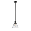 This item: Large Cone Oiled Rubbed Bronze 10-Inch One-Light Mini Pendant with Clear Cone Glass