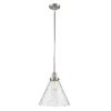 This item: X-Large Cone Polished Nickel LED Hang Straight Swivel Pendant with Seedy Glass