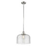 This item: X-Large Bell Polished Nickel LED Hang Straight Swivel Pendant with Seedy Glass