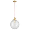 This item: Franklin Restoration Satin Gold 12-Inch LED Pendant with Clear Glass Shade