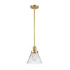 This item: Franklin Restoration Satin Gold Eight-Inch LED Mini Pendant with Clear Large Cone Shade
