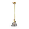 This item: Franklin Restoration Satin Gold Eight-Inch One-Light Mini Pendant with Plated Smoke Glass Shade