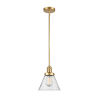 This item: Franklin Restoration Satin Gold Eight-Inch One-Light Mini Pendant with Seedy Large Cone Shade