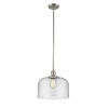 This item: X-Large Bell Brushed Satin Nickel One-Light Hang Straight Swivel Pendant with Seedy Glass