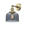 This item: Large Bell Antique Brass LED Wall Sconce with Smoked Glass