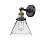 This item: Large Cone Black Antique Brass Eight-Inch LED Wall Sconce with Clear Cone Glass