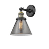 This item: Large Cone Black Antique Brass Eight-Inch LED Wall Sconce with Smoked Cone Glass