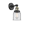 This item: Small Bell Black Antique Brass Five-Inch LED Wall Sconce with Clear Bell Glass