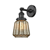 This item: Chatham Black Six-Inch LED Wall Sconce with Mercury Fluted Novelty Glass
