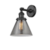 This item: Large Cone Black Eight-Inch LED Wall Sconce with Smoked Cone Glass