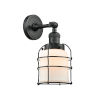 This item: Small Bell Cage Matte Black One-Light Wall Sconce with Matte White Cased Glass
