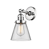This item: Small Cone Polished Chrome One-Light Wall Sconce with Clear Cone Glass