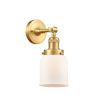 This item: Franklin Restoration Satin Gold 10-Inch One-Light Wall Sconce with Matte White Cased Bell Shade