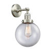 This item: Franklin Restoration Brushed Satin Nickel Eight-Inch LED Wall Sconce with Clear Glass Shade