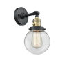 This item: Franklin Restoration Black Antique Brass Six-Inch One-Light Wall Sconce with Clear Glass Shade