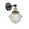 This item: Franklin Restoration Black Antique Brass Eight-Inch One-Light Wall Sconce with Seedy Small Oxford Shade