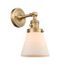 This item: Franklin Restoration Brushed Brass Six-Inch One-Light Wall Sconce with Matte White Cased Small Cone Shade