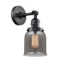 This item: Small Bell Matte Black One-Light Wall Sconce with Smoked Glass