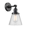 This item: Franklin Restoration Matte Black Six-Inch One-Light Wall Sconce with Seedy Small Cone Shade