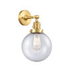 This item: Franklin Restoration Satin Gold 14-Inch One-Light Wall Sconce with Large Seedy Beacon Shade