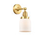 This item: Franklin Restoration Satin Gold 10-Inch One-Light Wall Sconce with Matte White Cased Small Bell Shade