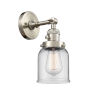 This item: Small Bell Brushed Satin Nickel One-Light Wall Sconce with Clear Glass