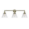 This item: Large Cone Antique Brass Three-Light Bath Vanity with Clear Glass