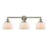 This item: Large Bell Antique Brass Three-Light Bath Vanity with Matte White Cased Glass