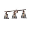 This item: Small Cone Antique Copper Three-Light LED Bath Vanity with Smoked Cone Glass