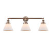 This item: Large Cone Antique Copper Three-Light LED Bath Vanity with Matte White Cased Glass