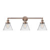 This item: Large Cone Antique Copper Three-Light Bath Vanity with Clear Glass