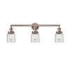 This item: Small Bell Antique Copper Three-Light Bath Vanity with Clear Glass
