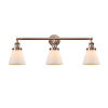 This item: Small Cone Antique Copper Three-Light LED Bath Vanity with Matte White Cased Glass
